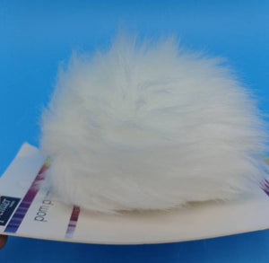 POLAR WHITE Faux Fur Pom Poms by Premier Yarns - Acrylic/Polyester - Large ~ Adds a Finishing Touch to your Hat, Scarf Ends, or Blanket!