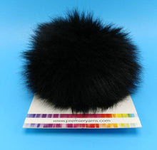 Load image into Gallery viewer, PANTHER BLACK Faux Fur Pom Poms by Premier Yarns - Acrylic/Polyester - Large ~ Adds a Finishing Touch to your Hat, Scarf Ends, or Blanket!