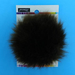 BEAR Brown Faux Fur Pom Poms by Premier Yarns - Acrylic/Polyester - Large ~ Adds a Finishing Touch to your Hat, Scarf Ends, or Blanket!