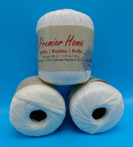 WHITE RAFFIA YARN by Premier Home - #4 Worsted - Solid Color 1.41oz - 99 Yards Great for Bag Making (94-02)