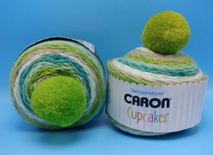 MINT SMOOTHIE Caron Cupcakes with a Pom Pom Yarn by Yarnspirations - 3oz / 244 yards Acrylic Self-Striping Green Teal White Lime Gray