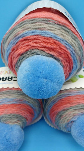 FRUIT PUNCH Caron Cupcakes with a Pom Pom Yarn by Yarnspirations - 3oz / 244 yards Acrylic Self-Striping - Pink, Blue, Gray