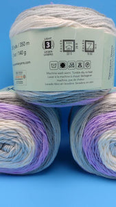 TEACUP Colorway DK Colors Anti-pilling by Premier Yarns - #3 Light  5oz/140g -383 Yds/350m - Purples Cream Grays Blue - Make a Baby Blanket!