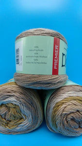 BIRCH wood Colorway DK Colors Anti-pilling by Premier Yarns - #3 Light  5oz/140g -383 Yds/350m - Shades of soft Browns, Tans and dark Cream
