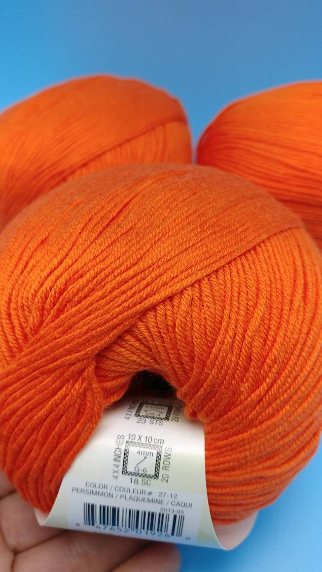 PERSIMMON Cotton Fair by Premier Yarns #2 Fine Weight - 3.5oz/100g  317yds/290m - Soft Cotton Acrylic Blend Bright Orange Solid Color