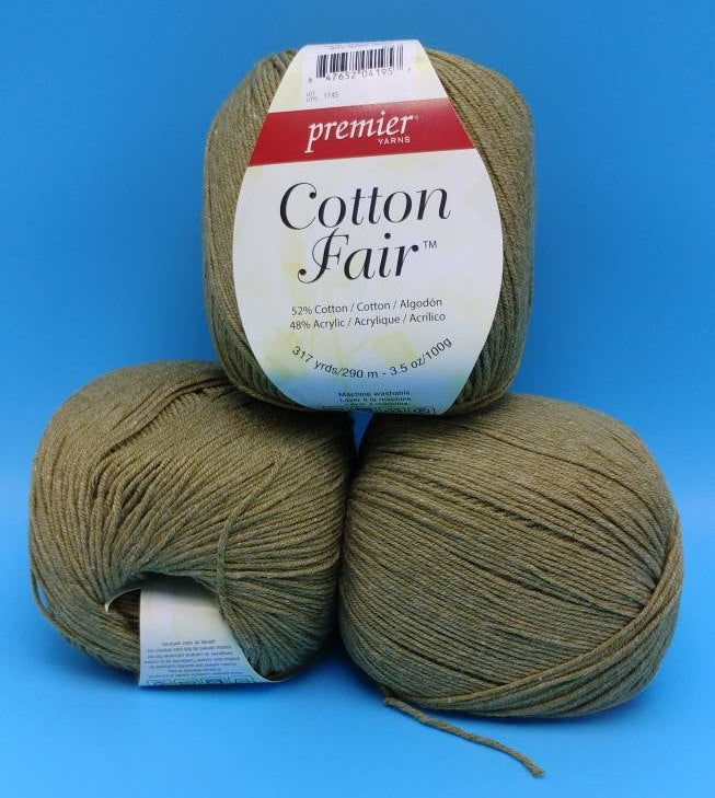 MOSS Cotton Fair by Premier Yarns #2 Fine Weight - 3.5oz/100g  317yds/290m - Soft Cotton Acrylic Blend Neutral Green Solid Color