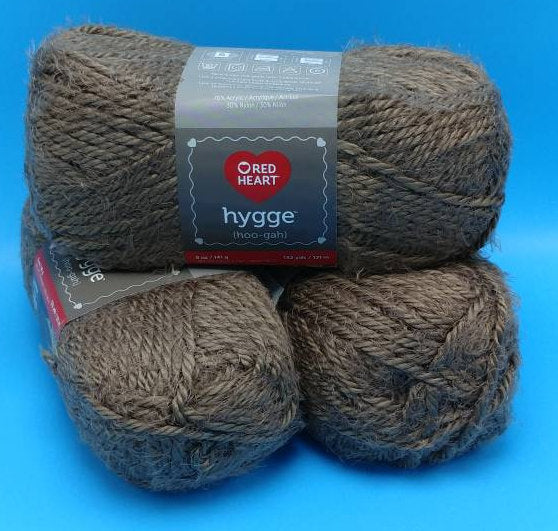 LATTE HYGGE (Hoo-gah) Yarn by Red Heart - #5 Bulky  - 5oz / 132yds - 70/30 Acrylic/Nylon - SOFT! Solid Brown - Would make an Awesome Sweater