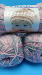 CINDERELLA Colorway of Fable Baby Yarn by Premier Yarns- #3 Light 3oz/85g - 250 Yds/229m - Variegated Pinks & Gray for a Blanket Hat Layette