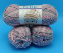 Load image into Gallery viewer, CINDERELLA Colorway of Fable Baby Yarn by Premier Yarns- #3 Light 3oz/85g - 250 Yds/229m - Variegated Pinks & Gray for a Blanket Hat Layette