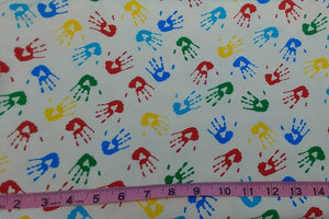 "FLANNEL FABRIC Sold By-The-Yard ~ Primary Colored Childrens Handprints on White Background - Cotton - 45"" Wide - Great for Rag Blankets"