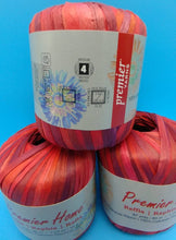 Load image into Gallery viewer, EMBERS RAFFIA Yarn by Premier Home - #4 Worsted - Solid Color 1.23oz - 87 Yards Great for Bag Making (Reds 99-03)