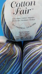 VIOLETS Cotton Fair by Premier Yarns #2 Fine Weight - 3.5oz/100g  317yds/290m - Soft Cotton Acrylic Blend Purple Green Brown Blue White