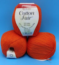 Load image into Gallery viewer, PERSIMMON Cotton Fair by Premier Yarns #2 Fine Weight - 3.5oz/100g  317yds/290m - Soft Cotton Acrylic Blend Bright Orange Solid Color