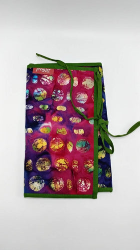CROCHET Hook & KNITTING Needles and Notions ORGANIZER Wrap Case Batik Cotton Holds DPNs Stitch Markers Interchangeable Needles Pockets Loops