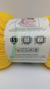 LEMON ICE Chenille Parfait - Premier Yarns - #5 Bulky - 3.5Oz/100g 192yds/175m - 100% Polyester Yellow- Makes Awesome Crochet Water Balloons