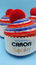 Load image into Gallery viewer, CHERRY ON TOP Caron Cupcakes with a Pom Pom Yarn by Yarnspirations - 3oz / 244 yards Acrylic Self-Striping - All American Red, White, Blue