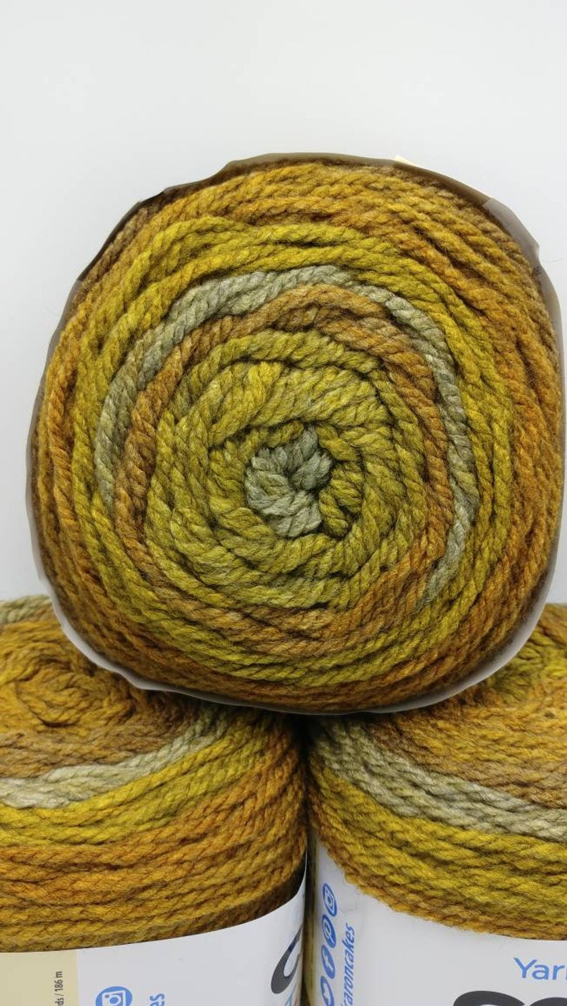 MAPLE MATCHA Caron Tea Cakes Yarn  - Big 8.5oz/240g - 204 yards/186m  - #6 Super Bulky Weight - Acrylic/Wool Blend - Chunky Brown Gold Green