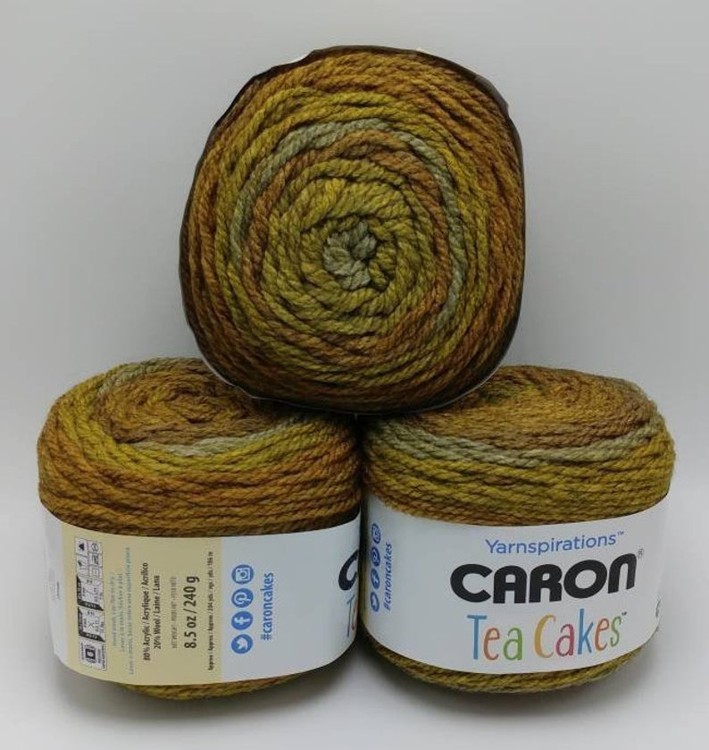 MAPLE MATCHA Caron Tea Cakes Yarn - Big 8 5oz/240g - 204 yards/186m - #6  Super Bulky Weight - Acrylic/Wool Blend - Chunky Brown Gold Green