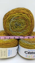 Load image into Gallery viewer, MAPLE MATCHA Caron Tea Cakes Yarn  - Big 8.5oz/240g - 204 yards/186m  - #6 Super Bulky Weight - Acrylic/Wool Blend - Chunky Brown Gold Green