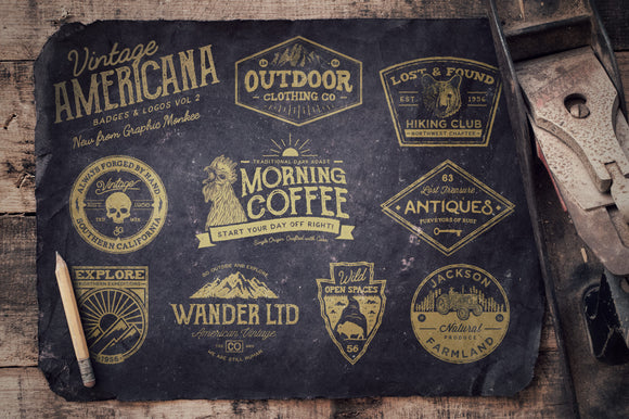 Vintage Americana Badges and Logos Vol 2