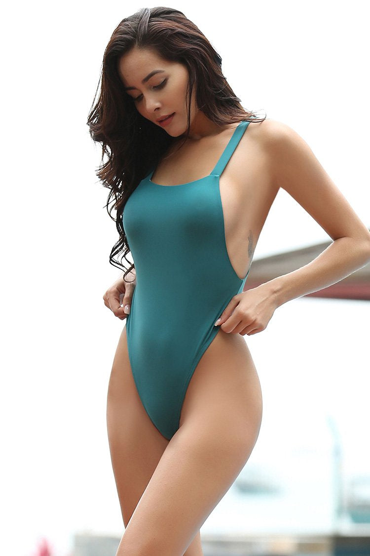 Square Neck Backless Thong One Piece Swimsuit - Shekini Swimwear