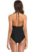 Scalloped Trim High Neckline Halter One Piece - Shekini Swimwear