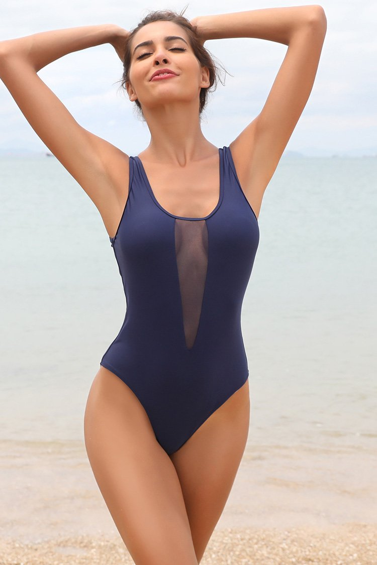 Front Mesh Backless One Piece Swimsuit Swimsuit - Shekini Swimwear
