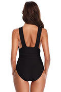 Front Crisscross Ruched One Piece Swimsuit - Shekini Swimwear