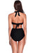 Halter Tie Back Cut Out One Piece Swimsuit - Shekini Swimwear