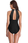 High Neck Mesh Ruched One Piece Swimsuit - Shekini Swimwear