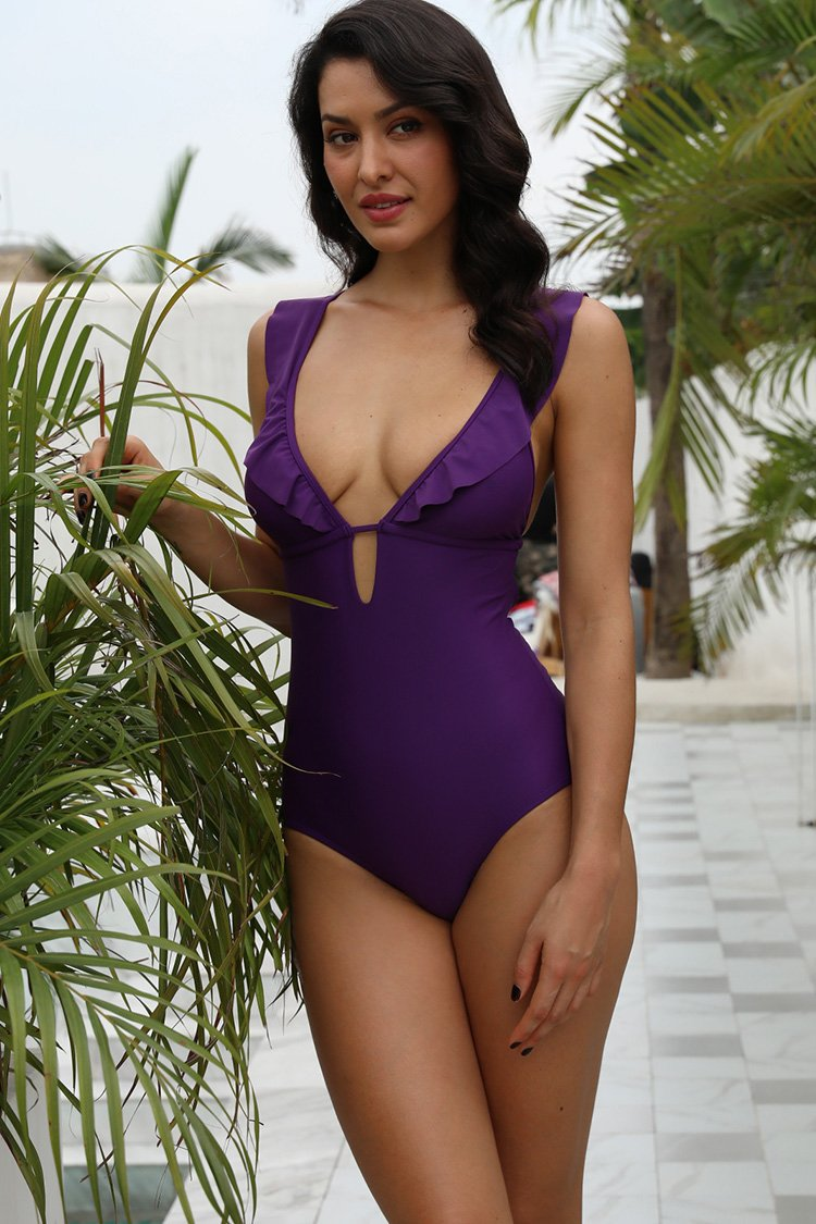 Ruffle Back Crisscross Straps One Piece - Shekini Swimwear