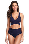 Wrap Cross Push-up High Waisted Ruched Bottom - Shekini Swimwear