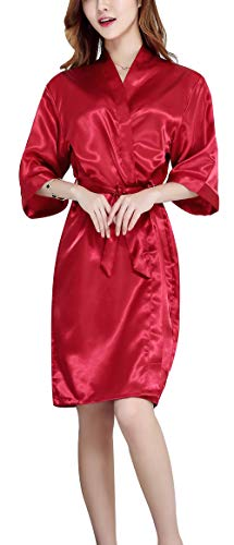 Women's Satin Short Kimono Robe V-Neck Nightwear - Shekini Swimwear