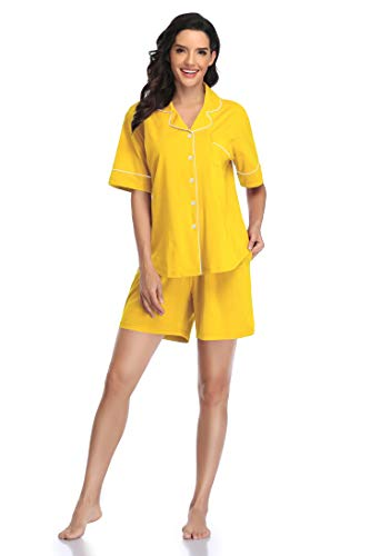 Women Long Sleeve Button Down Pajamas Set Short - Shekini Swimwear
