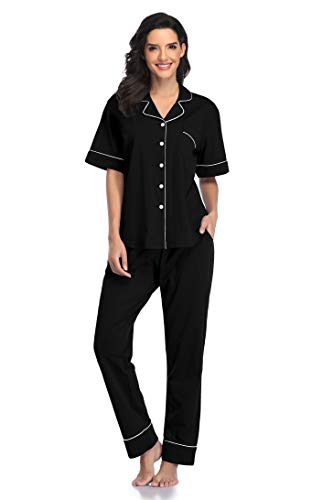 Women Pajamas Set Short Long Sleeve Button Down Nightwear - Shekini Swimwear