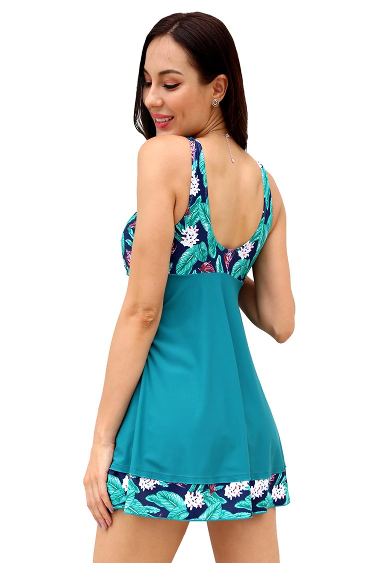 V Neck Floral Printed Twisted-Front Swimdress - Shekini Swimwear