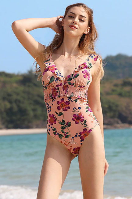 FLOUNCES V NECK PRINTED ONE PIECE SWIMSUIT