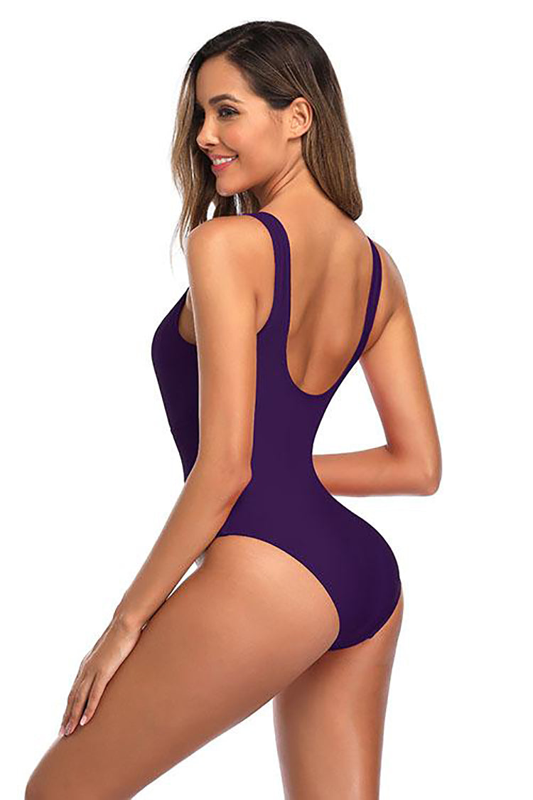 CUTOUT TWIST FRONT PADDING ONE PIECE SWIMSUIT