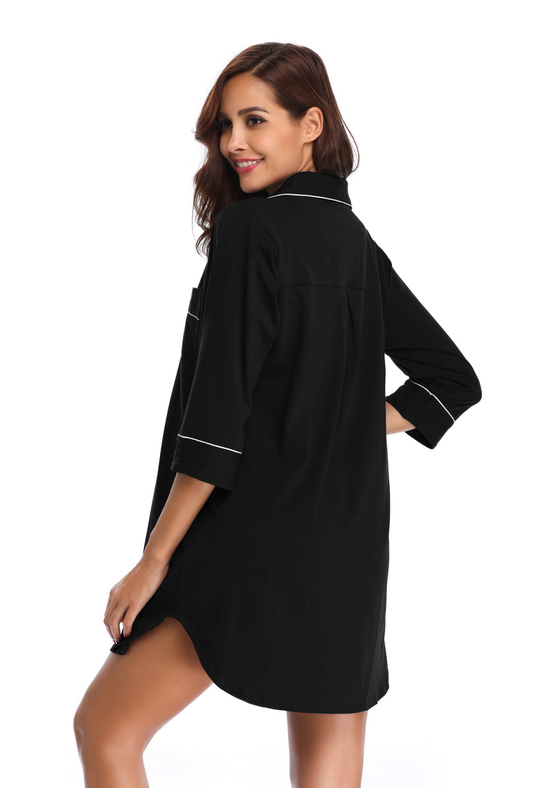 Women's Long Sleeve Shirt Nightgown - Shekini Swimwear
