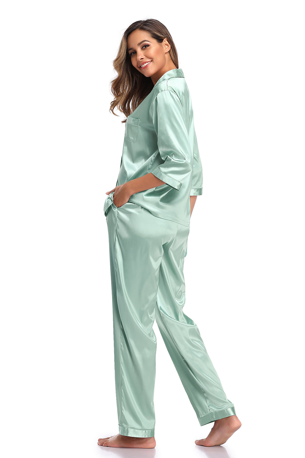 Womens Silk Satin Pajamas Set - Shekini Swimwear
