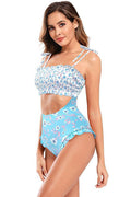 Floral Print Cutout High Waisted One Piece - Shekini Swimwear