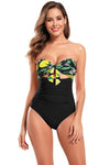 Tie Knot Bandeau Shirred High Waisted Swimsuit - Shekini Swimwear