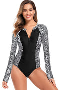 Long Sleeve High Waisted Rash Guard One Piece - Shekini Swimwear