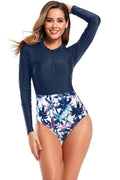 Long Sleeve Rash Guard High Waisted One Piece Swimsuit