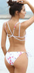 Floral High Neck Cross Straps Back Tie Side Bikini - Shekini Swimwear