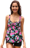 Floral Printed Top Black Short Bottom Tankini - Shekini Swimwear