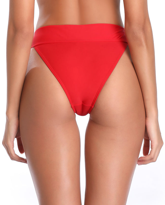 Fold Over Waistband High Cut Bikini Bottom - Shekini Swimwear