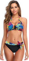 Halter Tie Back Top Knot Front Bottom Bikini - Shekini Swimwear