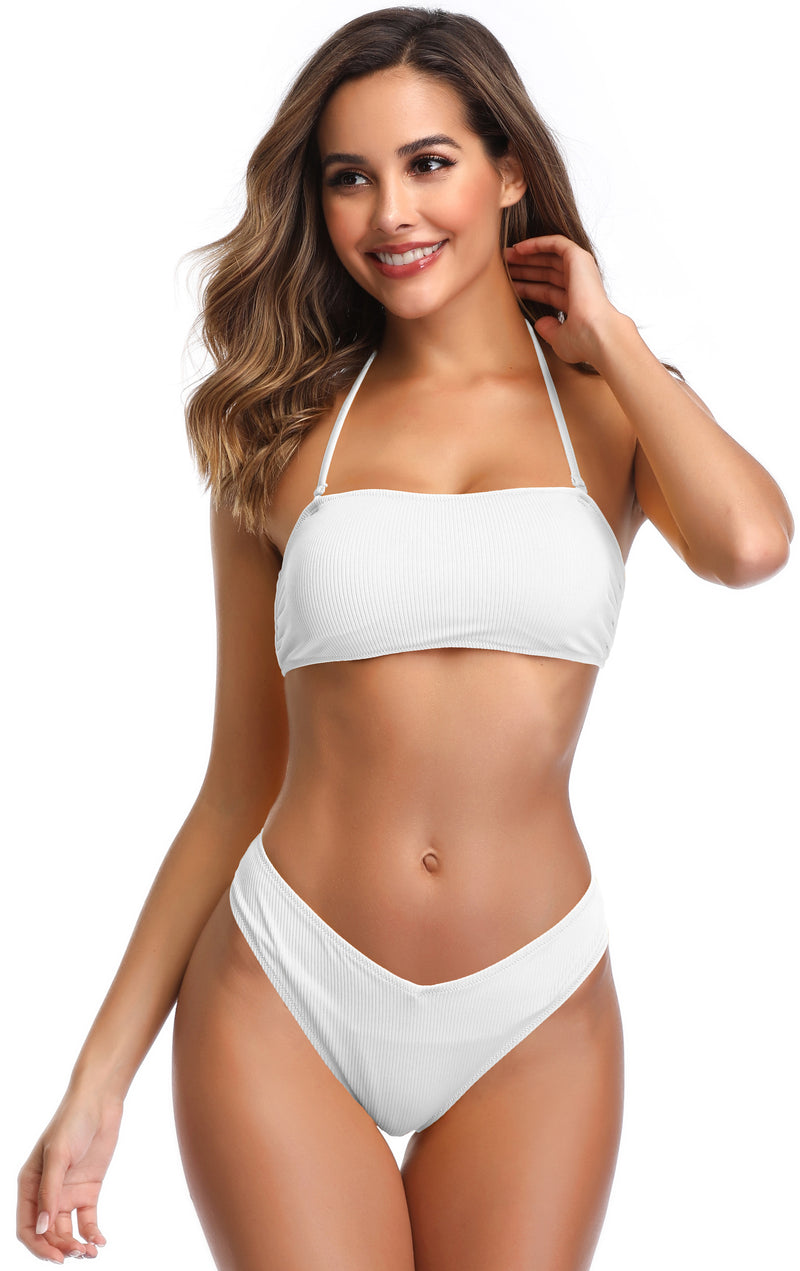 Lace up Back Ribbed Bandeau Bikini - Shekini Swimwear