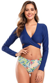 Long Sleeve Bandage Rash Guard Swimsuit - Shekini Swimwear
